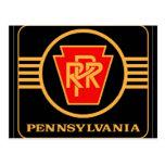 Pennsylvania Railroad Logo, Black & Gold Post Card at Zazzle