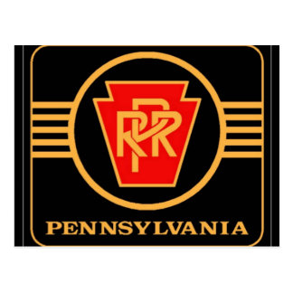 Pennsylvania Railroad Logo, Black & Gold Post Card