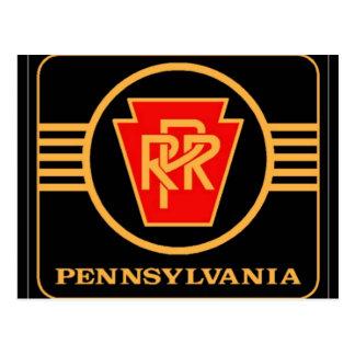 Pennsylvania Railroad Logo Black Gold Post Card