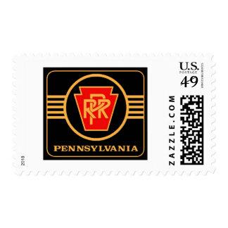 Pennsylvania Railroad Logo, Black & Gold Postage Stamp