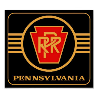 Pennsylvania Railroad Logo, Black & Gold Poster