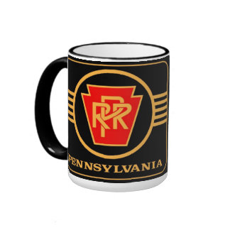 Pennsylvania Railroad Logo, Black & Gold Ringer Mug