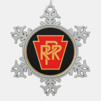Pennsylvania Railroad Logo, Black & Gold Snowflake Pewter Christmas Ornament