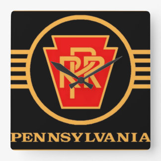 Pennsylvania Railroad Logo, Black & Gold Square Wall Clock