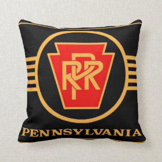 Pennsylvania Railroad Logo, Black & Gold Throw Pillow