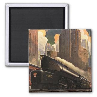 Pennsylvania Railroad Poster 2 Inch Square Magnet