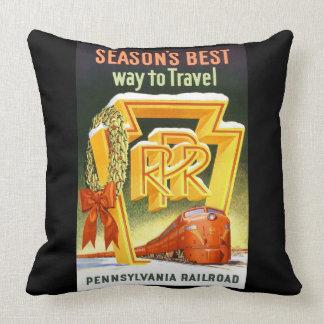 Pennsylvania Railroad, Season's Best Way To Travel Throw Pillow