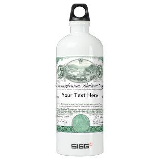 Pennsylvania Railroad Stock Certificate Aluminum Water Bottle