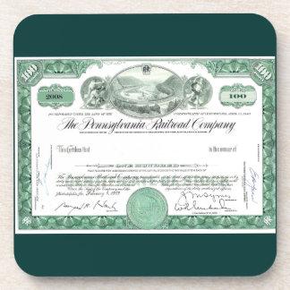 Pennsylvania Railroad Stock Certificate Drink Coaster