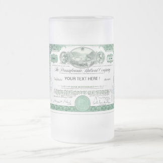 Pennsylvania Railroad Stock Certificate Frosted Glass Beer Mug