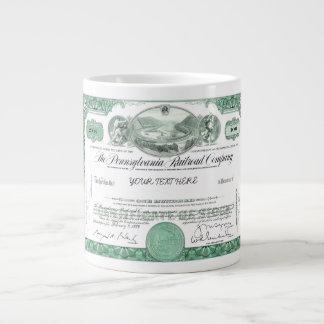 Pennsylvania Railroad Stock Certificate Jumbo Mug 20 Oz Large Ceramic Coffee Mug