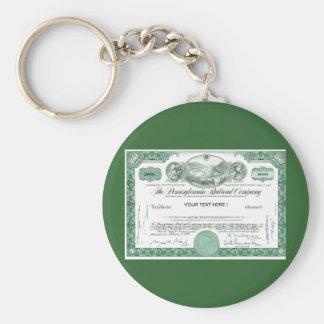 Pennsylvania Railroad Stock Certificate Keychain