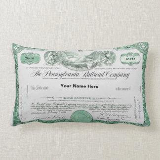 Pennsylvania Railroad Stock Certificate Lumbar Pillow
