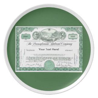 Pennsylvania Railroad Stock Certificate Melamine Plate