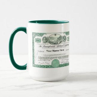 Pennsylvania Railroad Stock Certificate Mug