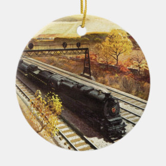 Pennsylvania Railroad Tanker Trains 1942 Double-Sided Ceramic Round Christmas Ornament