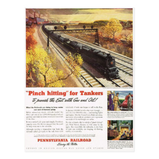 Pennsylvania Railroad Tanker Trains 1942 Postcard