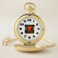 Pennsylvania Railroad Vintage Logo, Black & Gold Pocket Watch