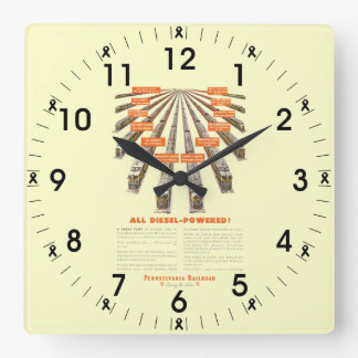 Pennsylvania Railroads East-West Now all Diesel Square Wall Clock