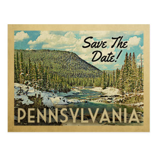 Pennsylvania Save The Date Mountains River Snow Postcard