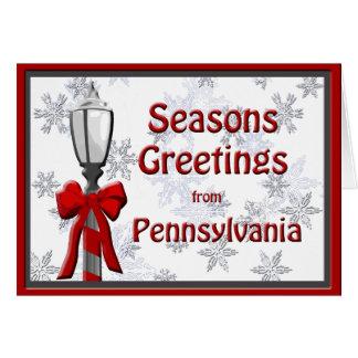 Pennsylvania Seasons Greetings Lamp Snowflake Card