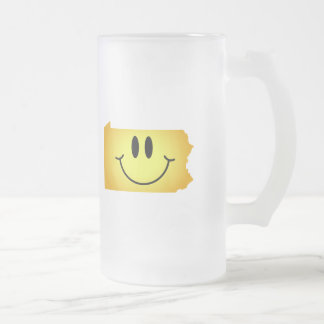 Pennsylvania Smiley Face Frosted Glass Beer Mug