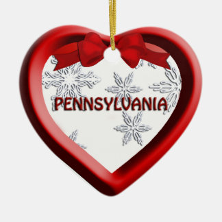 Pennsylvania Snowflake Heart Christmas Ornament
