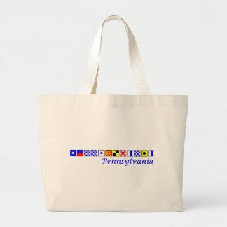 Pennsylvania spelled in nautical flag alphabet large tote bag