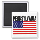 Pennsylvania, Stars and Stripes 2 Inch Square Magnet