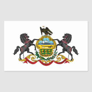 Pennsylvania state coat arms flag united america r rectangular sticker