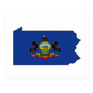 Pennsylvania State Flag and Map Postcard