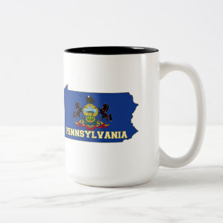 Pennsylvania State Flag and Map Two-Tone Coffee Mug