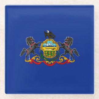 Pennsylvania State Flag Design Decor Glass Coaster