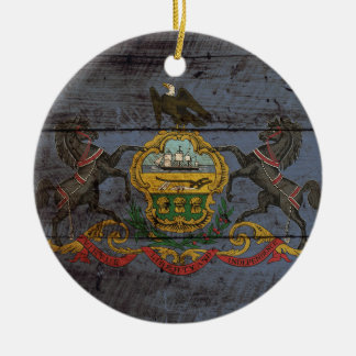 Pennsylvania State Flag on Old Wood Grain Double-Sided Ceramic Round Christmas Ornament