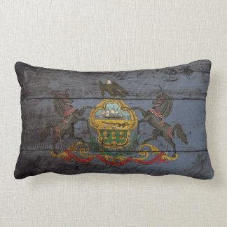 Pennsylvania State Flag on Old Wood Grain Lumbar Pillow