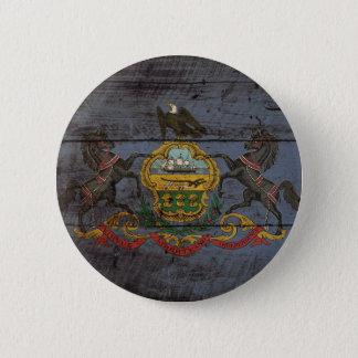 Pennsylvania State Flag on Old Wood Grain Pinback Button