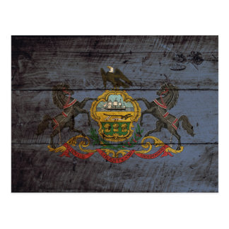 Pennsylvania State Flag on Old Wood Grain Postcard