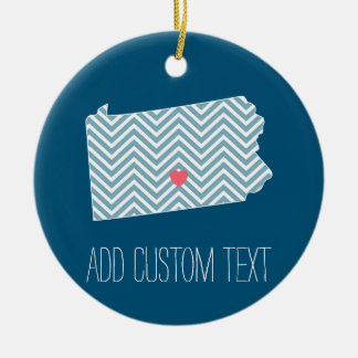 Pennsylvania State Map with Custom Heart and Name Double-Sided Ceramic Round Christmas Ornament
