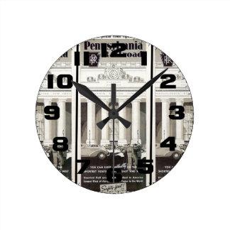 Pennsylvania Station New York Timetable 1941 Round Wall Clocks