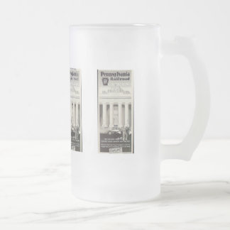 Pennsylvania Station New York ,Timetable 1941 Frosted Glass Beer Mug