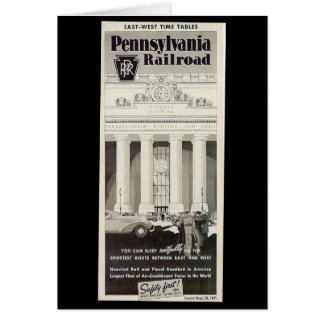 Pennsylvania Station New York ,Timetable 1941 Note Stationery Note Card