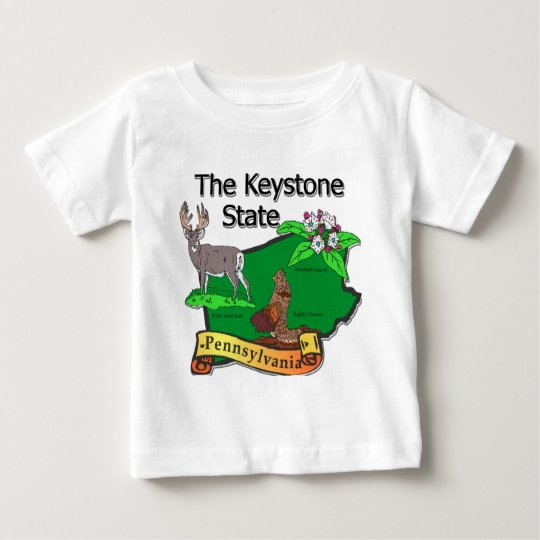 Pennsylvania The Keystone State Bird Deer Flower Baby T-Shirt