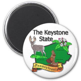 Pennsylvania The Keystone State Bird Deer Flower Magnet