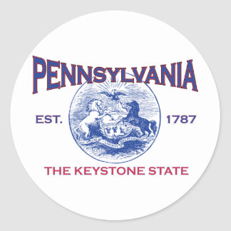 PENNSYLVANIA The Keystone State Classic Round Sticker
