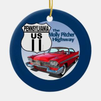 Pennsylvania US Route 11 - The Molly Pitcher Ceramic Ornament