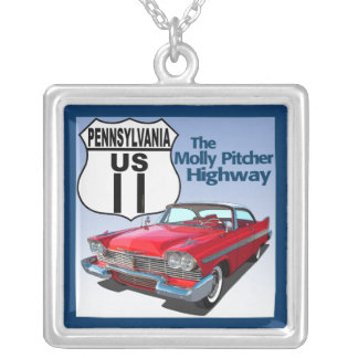 Pennsylvania US Route 11 - The Molly Pitcher Square Pendant Necklace