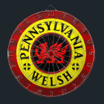 "Pennsylvania Welsh American Dartboard<br><div class=""desc"">Celebrate your Welsh ancestry with this design! With a red Welsh Dragon in the centre,  and the patron saint of Wales - St David&#39;s flag motif.</div>"