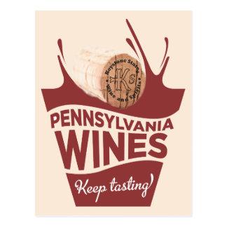 Pennsylvania Wines postal del estado trapezoidal