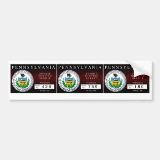 Pennsylvania Zombie Hunting Permit Car Bumper Sticker
