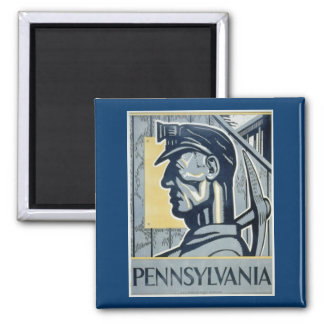 Pennsylvanian Coal Miner 2 Inch Square Magnet